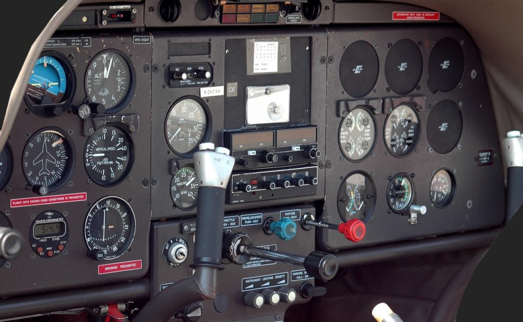 airplane cockpit instrument panel