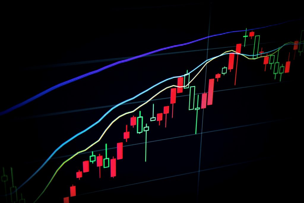 Stock chart showing upward trend