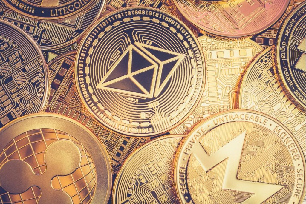 Pile of Ethereum coins